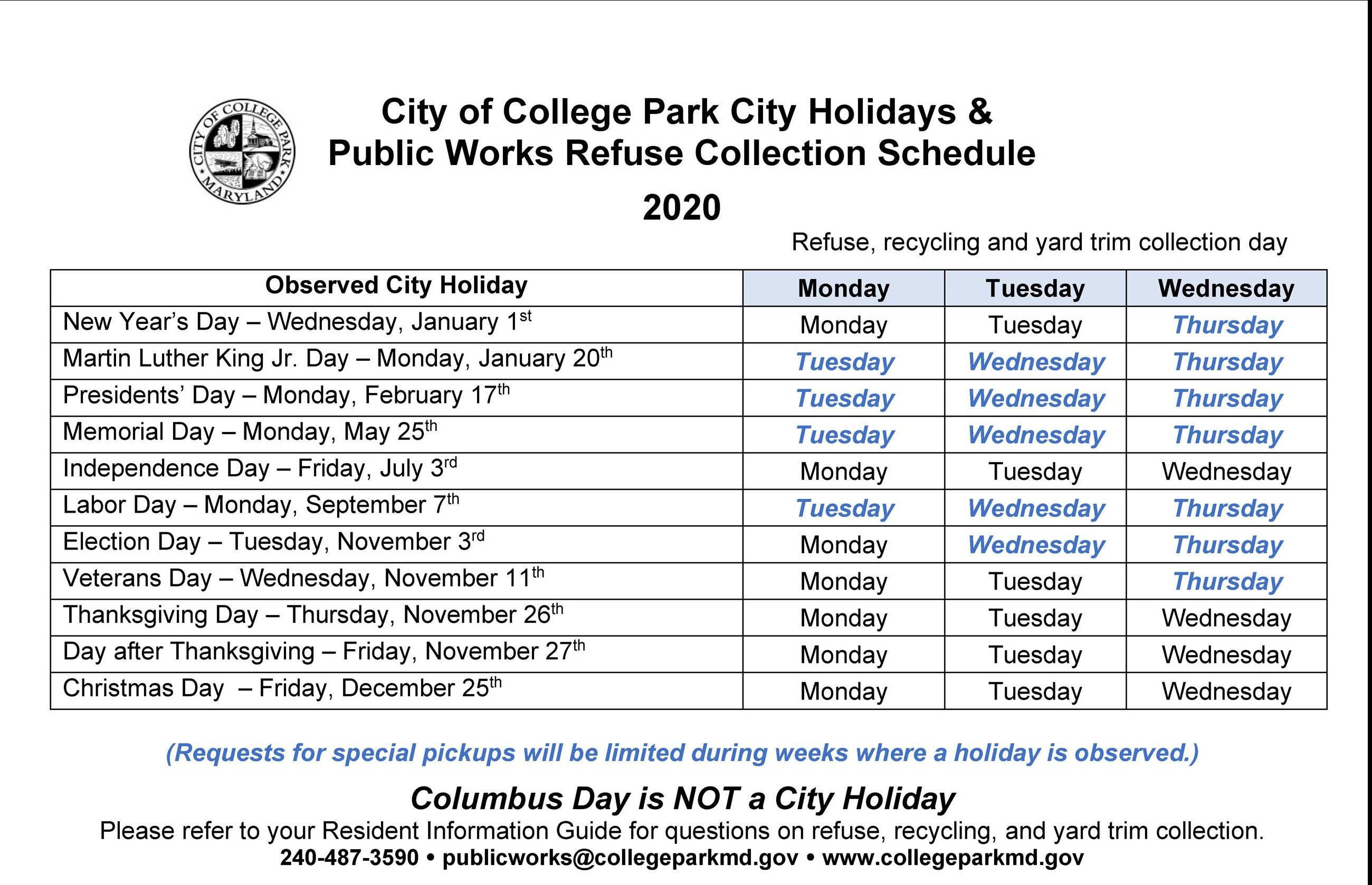 Holiday Collection Schedule 2020-English