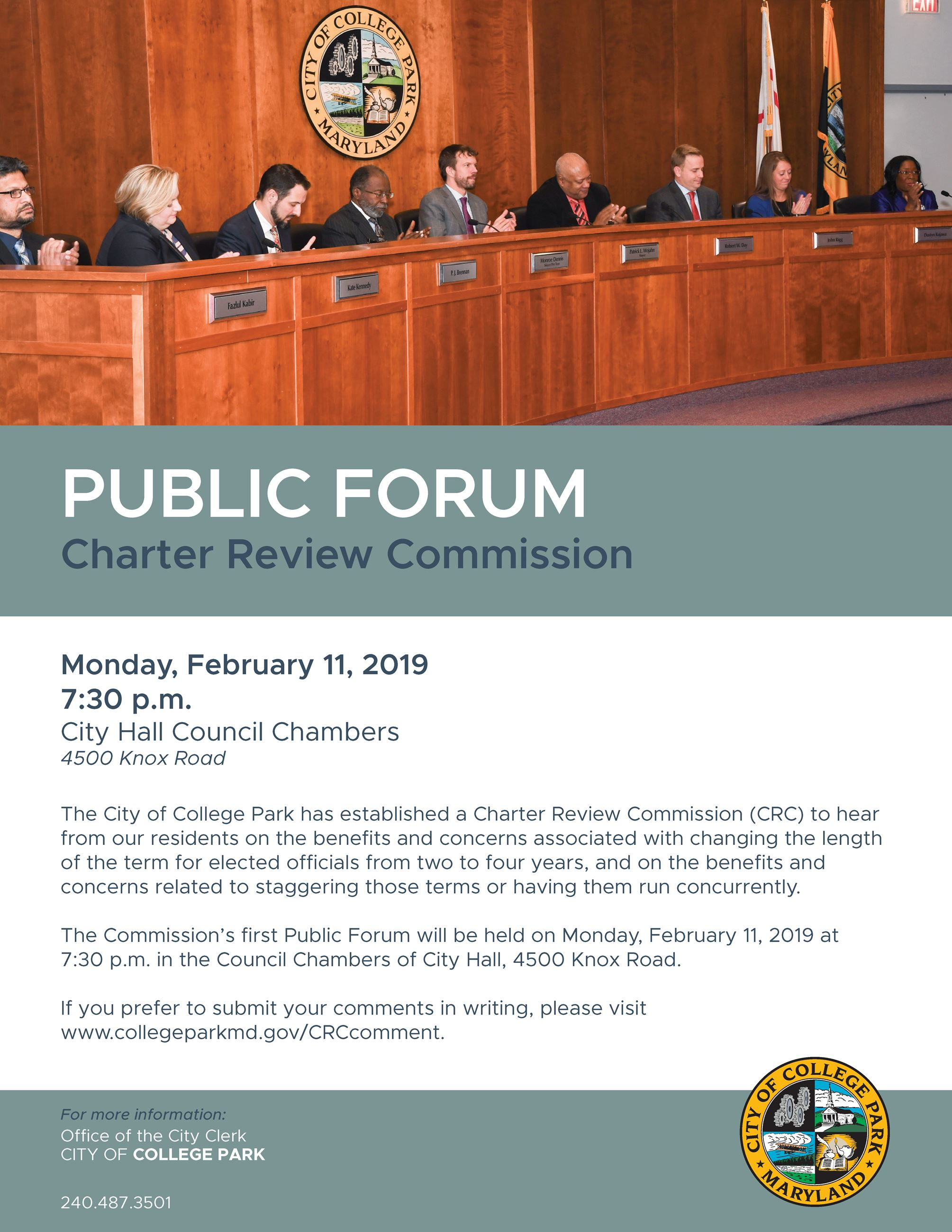 Public Forum - Charter Review Commission