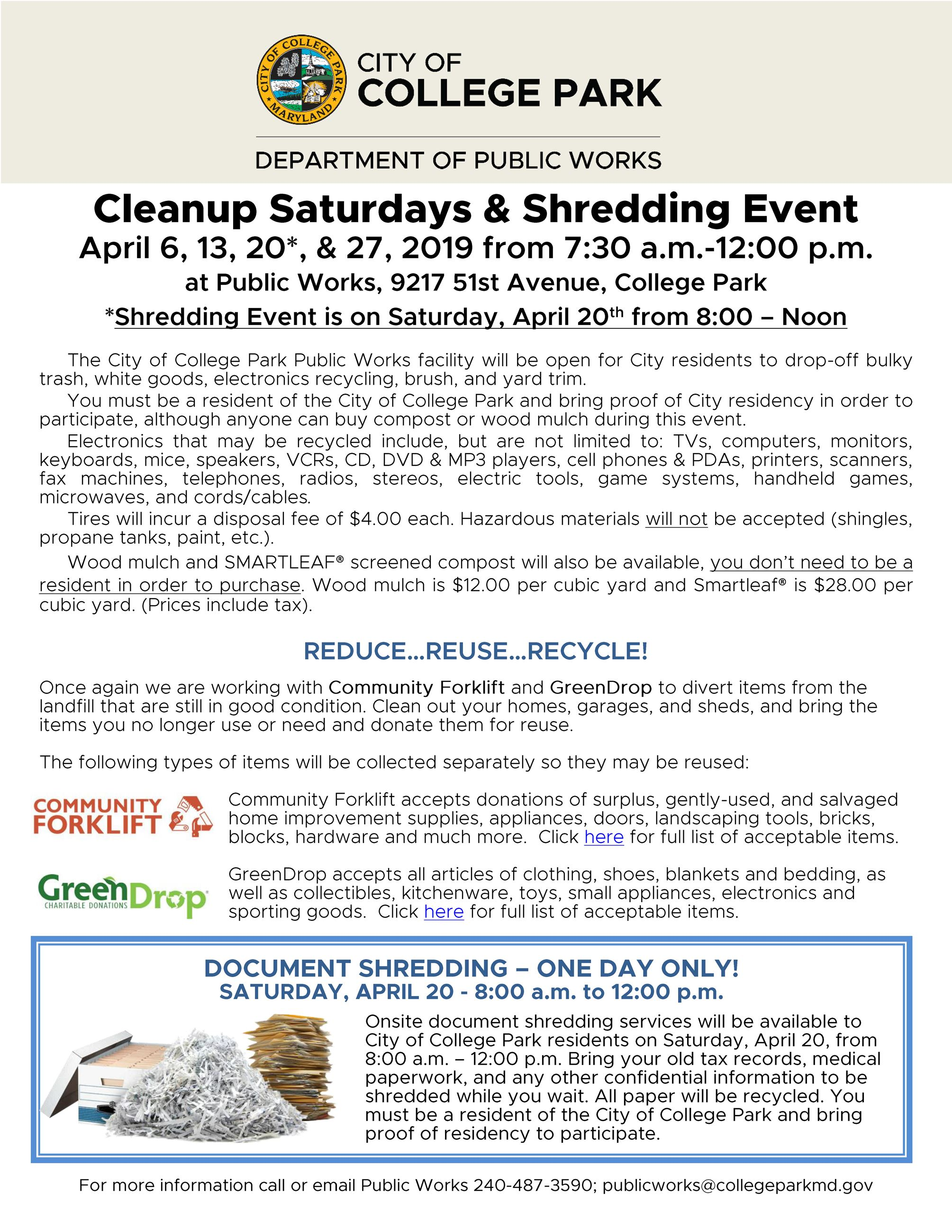 Clean up event Spring 2019 advertisement