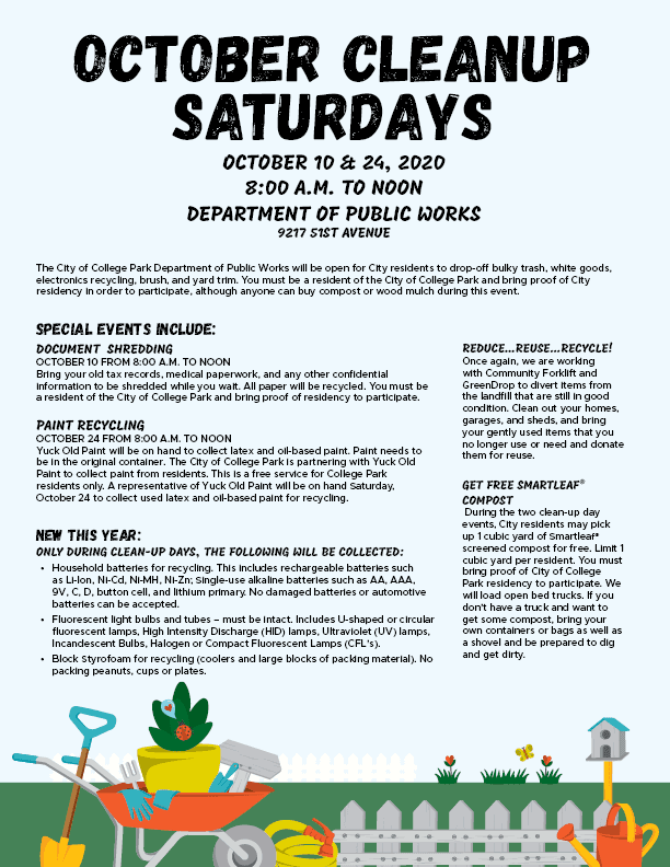 October Cleanup Saturdays 2020