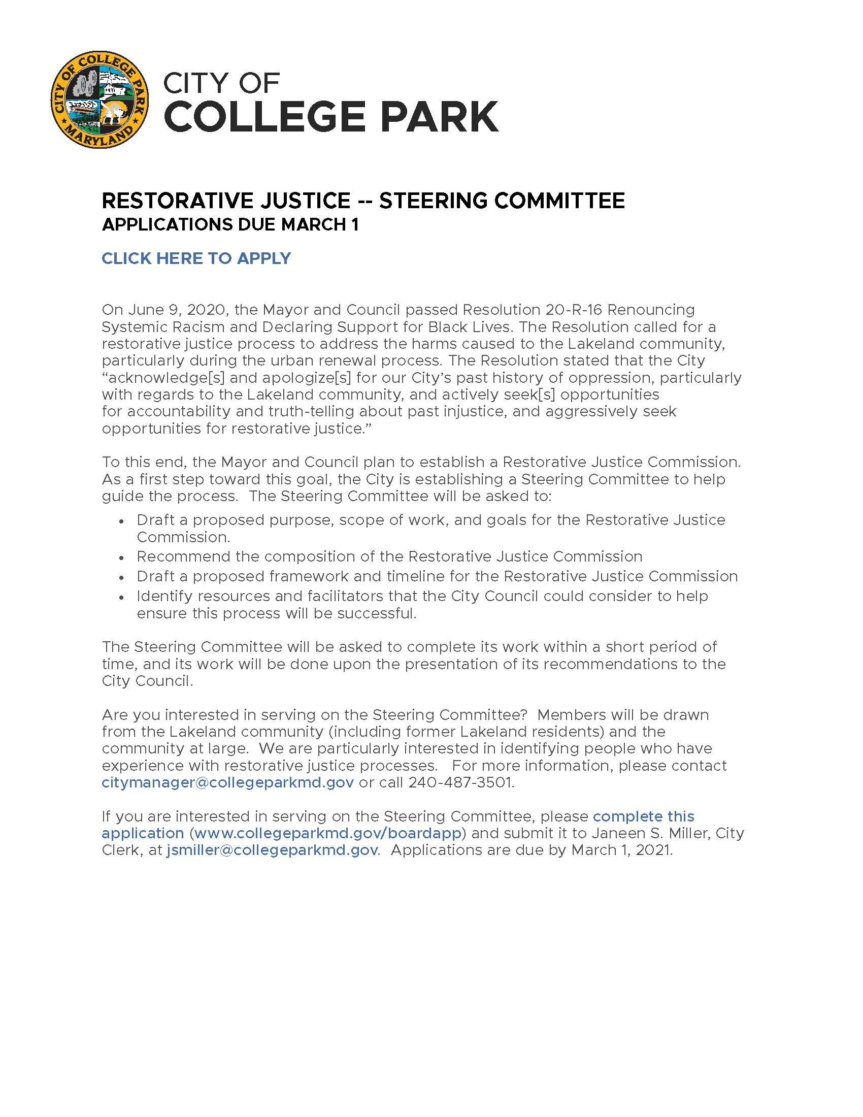 City Restorative Justice Commission Flyer
